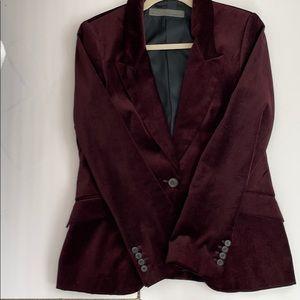 Zara Velvet Blazer XL (Raisin/Plum)